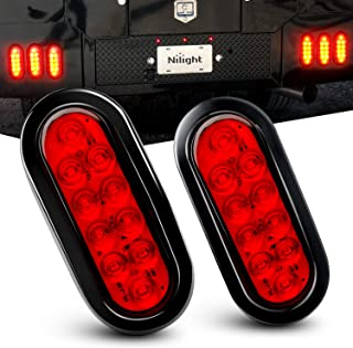"Nilight TL-01 6"" Oval Red LED Tail 2PCS w/Surface Mount Grommets Plugs IP67 Waterproof Stop Brake Turn Trailer Lights for RV Truck Jeep, 2 Years Warranty"