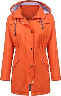 LOMON Raincoat Women Waterproof Long Hooded Trench Coats...