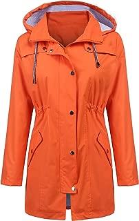 Raincoat Women Waterproof Long Hooded Trench Coats Lined Windbreaker Travel Jacket S-XXL