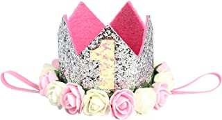 Baby Princess Crown Birthday Hat One Year Old Birthday Party Accessories Girls Sparkle Gold Flower Style