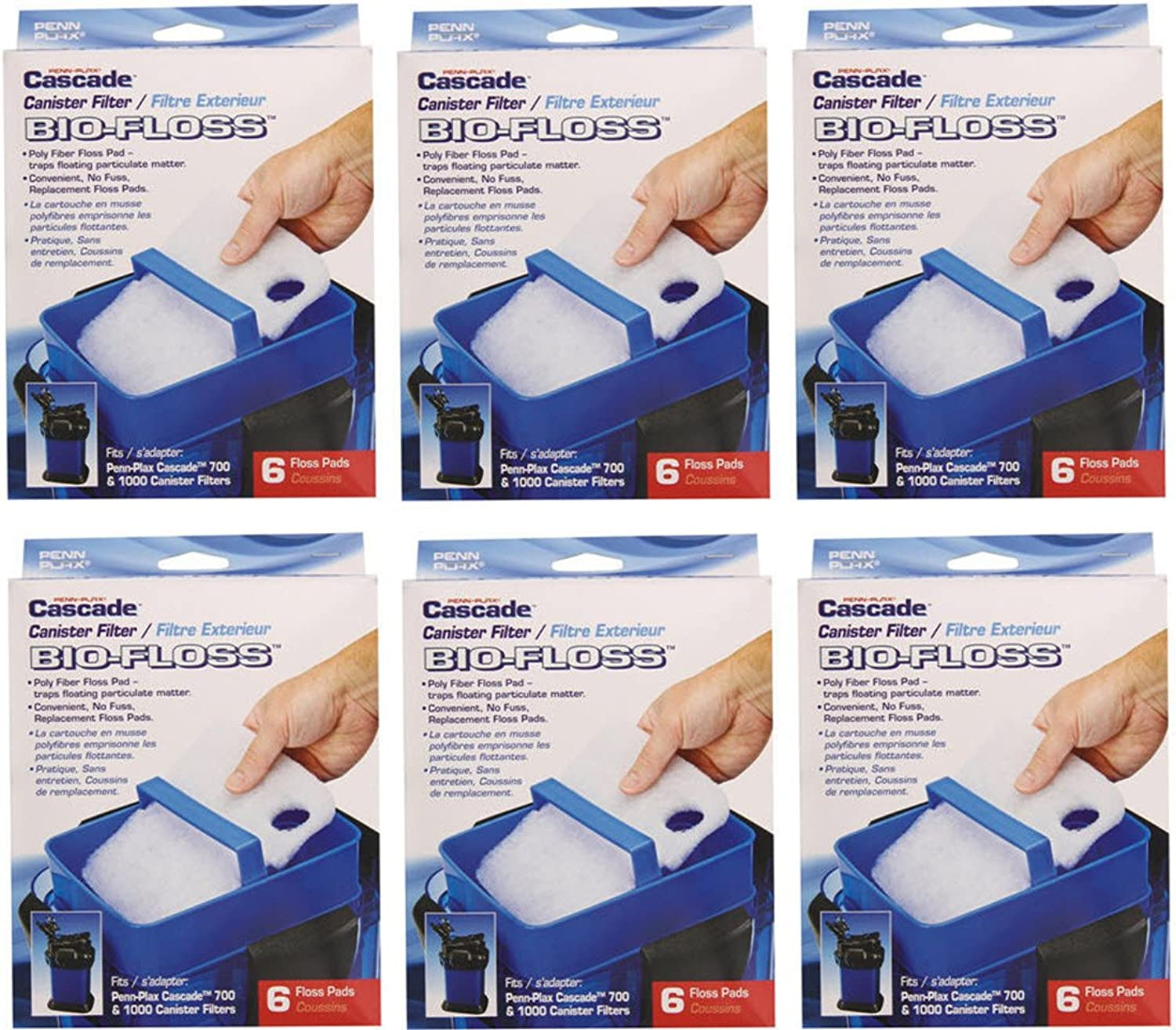 Penn Plax BioFloss Filter Media for Cascade 700 and 1000 Canister Aquarium Filter Pumps, 6Boxes 36Cartridges