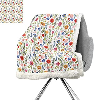 ScottDecor Watercolor Cozy Flannel Blanket,Floral Patterned Illustration with Leaves and Wildflowers Abstract Botanical,Multicolor,Warm Breathable Comforter for Girls Kids Adults W59xL31.5 Inch