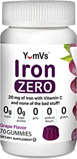 Iron + Vitamin C Zero Gummies by YumVs | Keto-Friendly Sugar-Free Supplement for Women & Men | 20 mg Iron | Natural Grape ...