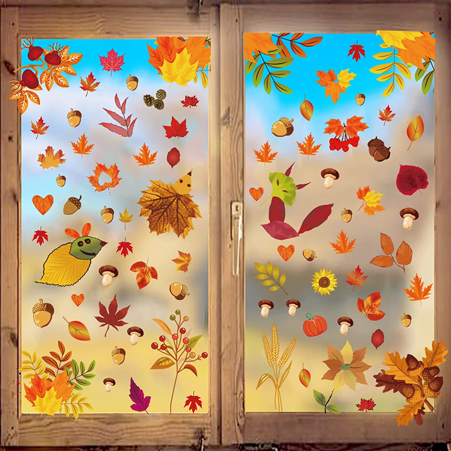 120 PCS Thanksgiving Window NEW before selling Stickers f Excellent Leaves Clings Fall