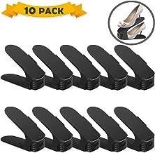 Uktunu Organizador de Zapatos Ajustable 10PCS Durable 3Posiciones de Engranaje Ajustables Soporte de Calzado con Ranura Ordenar Calzado Ajustable Apilador de Zapatos Negro