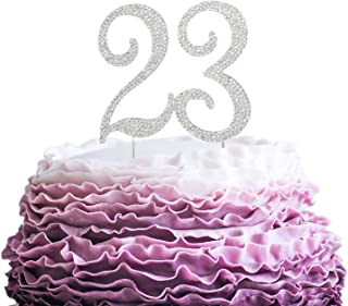 LINGPAR New Best Crystal Rhinestone Cake Topper Party Decorations (23-Silver) Silver