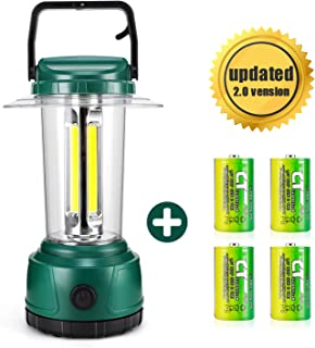DOZAWA LED Camping Lantern Battery Powered 2000 Lumen COB Camp Light 4D Batteries(Included) Perfect for Hurricane, Camping, Emergency Kit