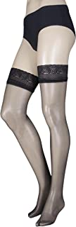 Women's 1 Pair 10 Denier Ultra Shine Hold Ups with Silk Finish Medium/Large Black