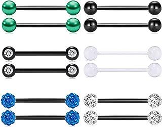 14G Tongue Rings or Nipple Rings Stainless Steel Black Straight Piercing Barbells 1/2