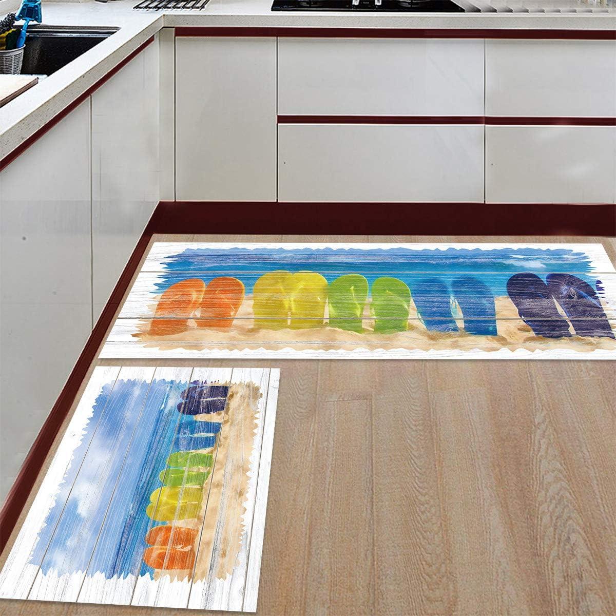 Advancey 2 Pieces Anti-Slip Kitchen Dedication Flip Mats Max 44% OFF Flops wit Colroful