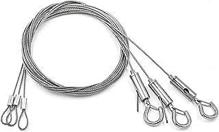 3 stuks 2 m staalkabel staalkabel, roestvrij stalen touw, ophangtouw, instelbaar roestvrij staal, 1,5 mm met lus en haak, ...