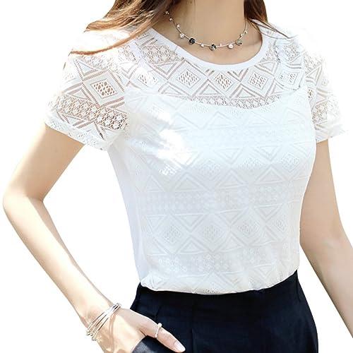 accd925164a6f9 Women s Tops Lace Chiffon Blouse Short Sleeve T Shirt Korean Clothing White