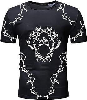 Camiseta de Manga Corta para Hombre con Estampado Personalizado Camisa Transpirable de Cuello Redondo de Tendencia Europea...