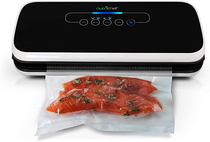 NutriChef Vacuum Sealer Automatic Vacuum Air Sealing System For Food Preservation W Starter Kit Compact Design Lab Tested Dry Moist Food Modes Led Indicator Lights Black