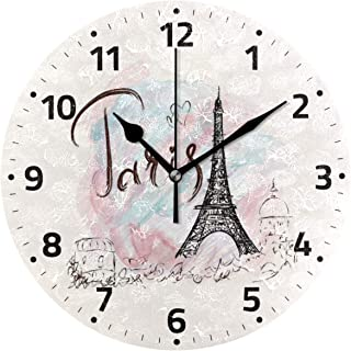 Wamika Eiffel Tower Wall Clock Battery Operated Non Ticking Silent Round Acrylic Paris City of France Quartz Decorative Clocks for Home Office Kitchen School Easy to Read