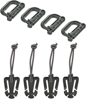 Ellami Set of 8 Grimloc Locking D-Ring and ITW Molle Web Dominators with Elastic String