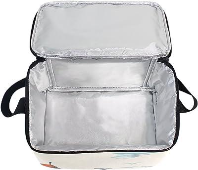 LORVIES - Bolsa térmica reutilizable para el almuerzo, diseño de barcos, con correa ajustable para el hombro para mujeres y hombres