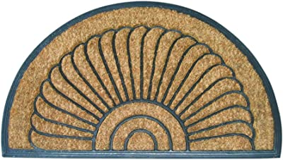 """Entryways Shell Half Round All Natural Coconut Fiber Coir, Recycled Rubber and Natural Latex Bootscraper Doormat, 18"""" X 30"""" X .50"""""""
