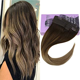 VeSunny 18inch Thick Hair Extensions Real Halo Hair Invisible Hidden Crown Hair Extensions Ombre #4 Dark Brown Fading to #10 Mixed Blonde Balayage Human Hair Wire Hair Extensions 80G/Set