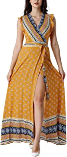 Womens Boho Floral Ruffle Sleeve Pockets Split Casual Beach Party Wrap Dress