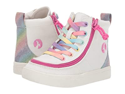 BILLY Footwear Kids Classic Lace High (Toddler) (White Rainbow) Girl