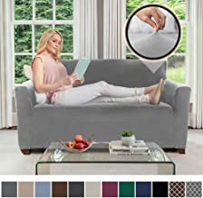 Gorilla Grip Original Velvet Fitted 1 Piece Loveseat Slipcover, Stretch Up to 54 Inches, Soft Velvety Covers, Luxurious Couch Slip Cover, Spandex Loveseats Furniture Protector, with Fasteners, Gray