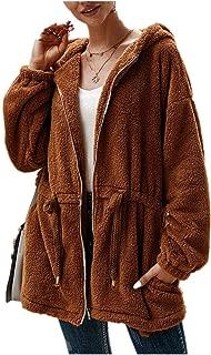Women's Faux Fur Fleece Long Sleeve Hooded Zipper Loose Jacket Coat Warm Fuzzy Shaggy Outwear Pockets