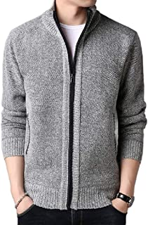 Howely Men's Fleece-Lined Casual Loose Cardigan Warm Cardigan Coat