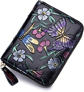 imeetu Womens Leather Credit Card Holder Wallet RFID Blocking Purse (Dragonfly)