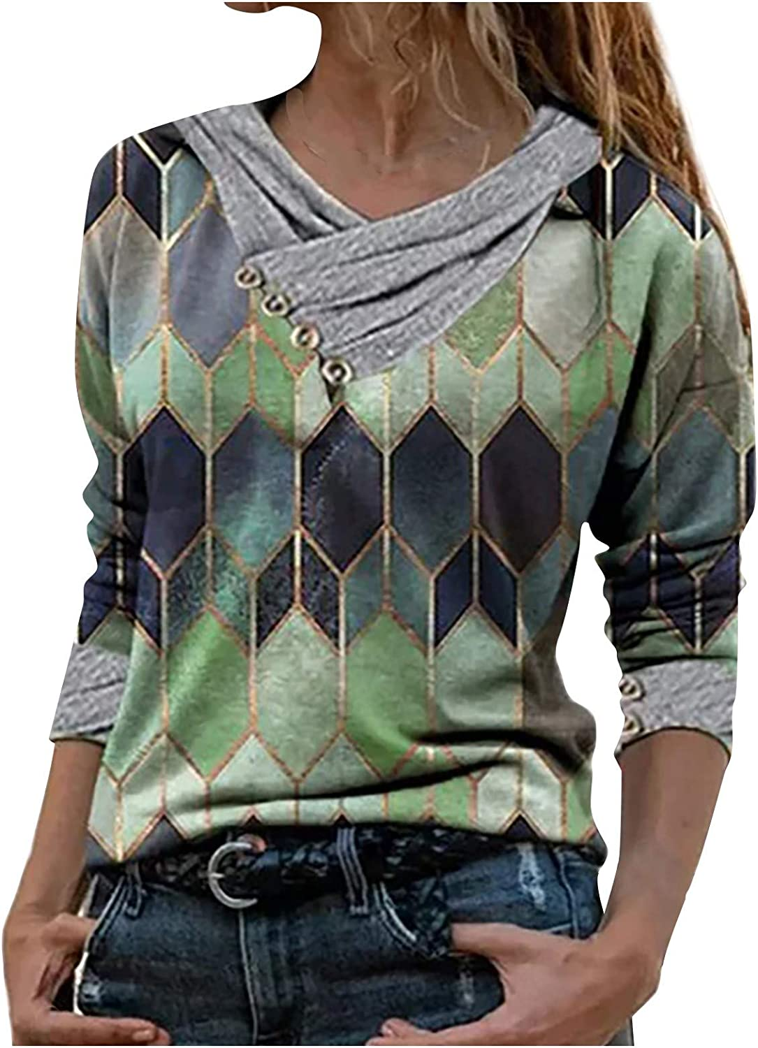 Women's Long Sleeve Blouse Fashion Geometric Print Pullover Tops Comfy Long Sleeve Tshirt Casual Pullover Blouse