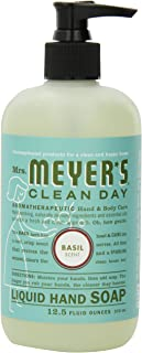 Mrs. Meyer's Clean Day Liquid Hand Soap, Cruelty Free and Biodegradable Formula, Basil Scent, 12.5 oz- Pack of 6