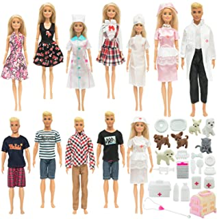 SOTOGO 45 Pieces Doll Clothes and Accessories for Barbie Ken Dolls Pet Hospital Playset Include 12 Set Handmade Doctor Nur...