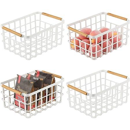 mDesign panier de rangement universel – panier en métal avec poignées en bambou pour la cuisine et le garde-manger – panier rangement compact pour la maison – lot de 4 – blanc mat/bambou