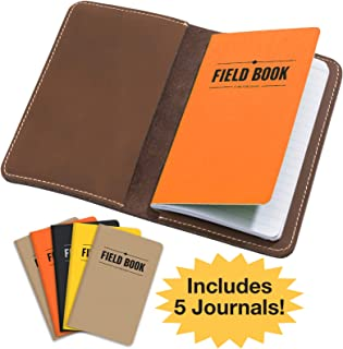 Handcrafted Stitched Leather Journal Notebook Cover with Inside Pocket: Includes 5 Bonus Refillable Field Note Book Journals/Compatible with Field Notes and Moleskine Cahier Notebook (3.5