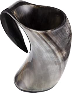 Viking Drinking Horn Mug Handcrafted Medieval Tankard Stein Norseman Halloween Mug for Cold Beverage Made of Genuine Ox-Ho...
