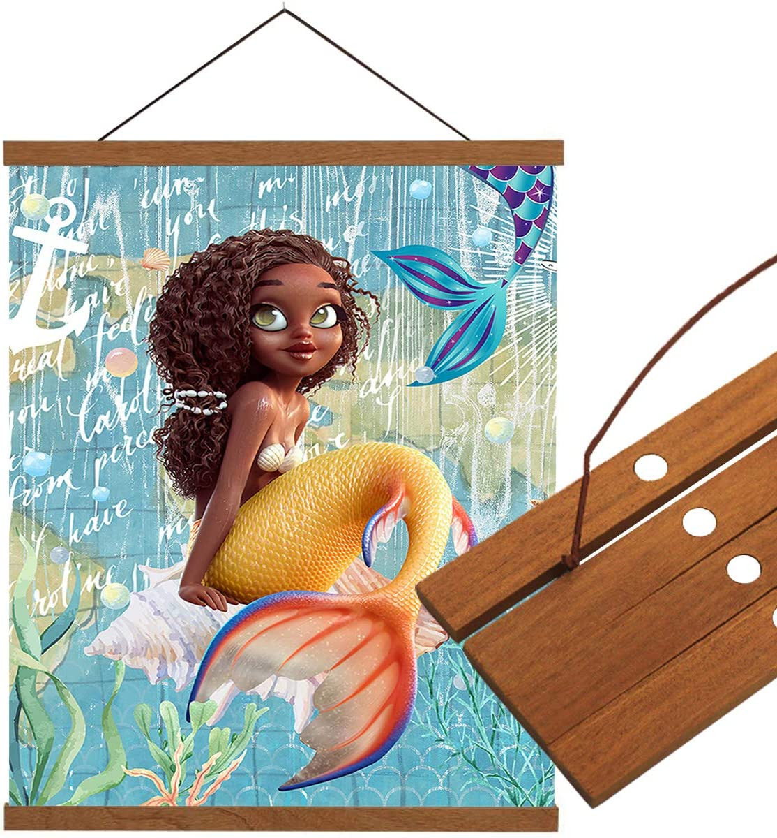 LEO BON Wall Art Canvas Hanging Poster Wood Frame Picture Black Girls Cute Cartoon Mermaid Map Background Wall Hanging Teak Wood for Home Dorm Office 16x28inch