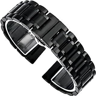 【TON CHARME】トンチャーメー 腕時計用ベルト ステンレス シルバー ブラック 観音開き式プッシュDバックル16/18//19/20/21/22mm (20mm, ブラック)