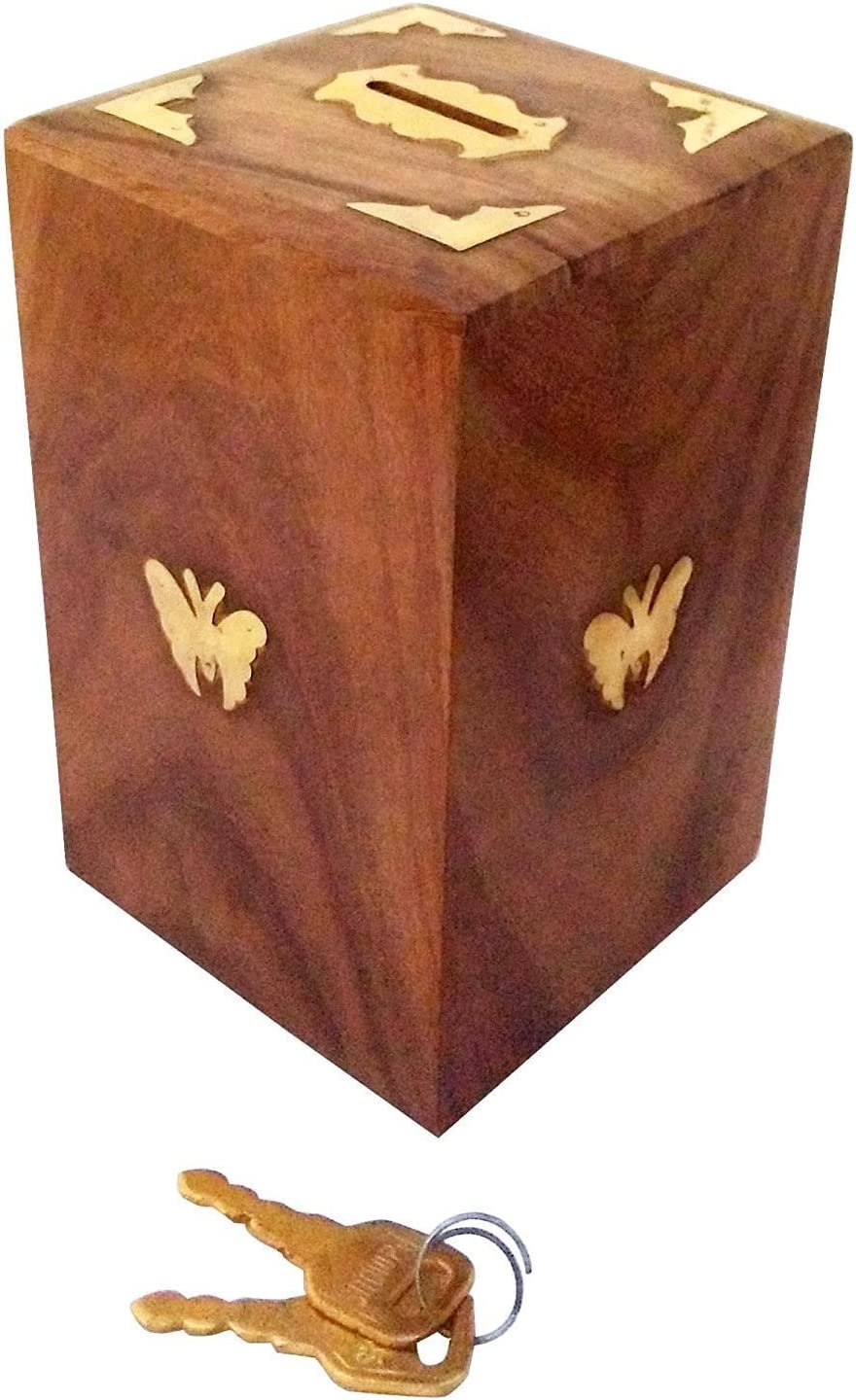 Wooden Butterfly Inlay on Two Sides 5 ☆ very popular Lock Storage Box with Coins Direct store