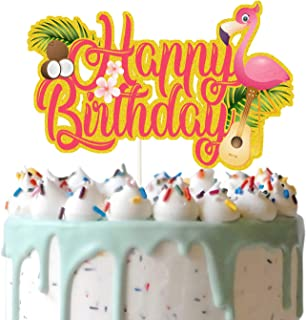 Red Tropical Happy Birthday Cake Topper, Flamingo and Coconut Cake Decor, Aloha Cake Topper, Summer Holiday Birthday Party...