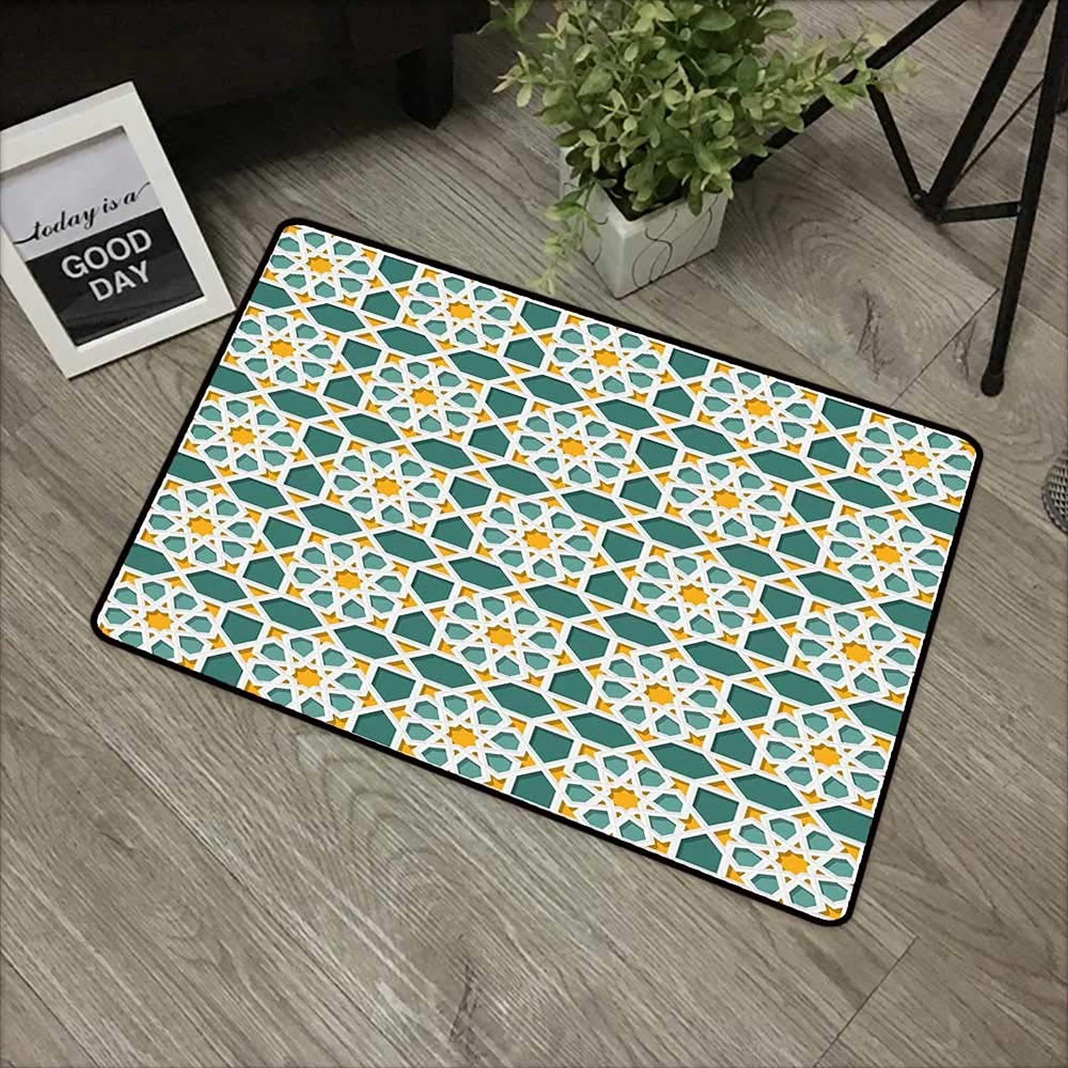 Living room door mat W35 x L59 INCH Teal,Mgoldccan Interlacing Star Pattern Ethnic Asian Ornamental Mosaic Design Traditional,Teal Marigold Easy to clean, no deformation, no fading Non-slip Door Mat Ca