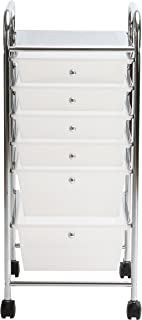 Finnhomy 6-Drawer Rolling Cart,Storage Rolling Carts with Semi-Transparent White Drawers, Organizer Cart for School, Office, Home, Beauty Salon,Utility Cart with Wheels