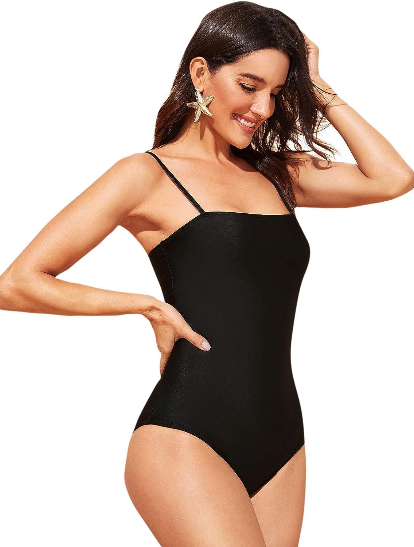 SweatyRocks Women's Sexy Bathing Suit Criss Cross Backless One Piece Swimsuits Monokini Swimwear