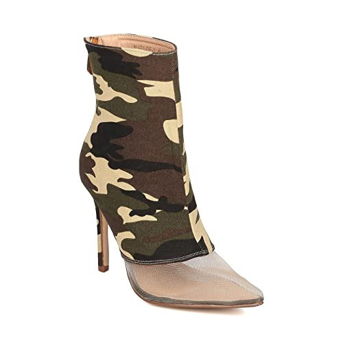 a54fb54388217 Women Mesh Toe Ankle Boot - Stiletto Bootie - Mixed Fabric Heel Bootie -  HK67 by