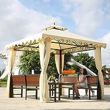 Garden Gazebo, Double Top Tent Courtyard Outdoor Awning Outdoor Leisure Furniture for Villa Courtyard Sunshine Board Pavil...
