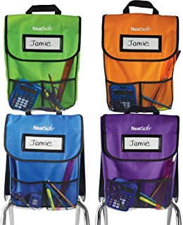 EAI Education NeatSeat Classroom Chair Organiser: Set of 4 - Assorted Colours