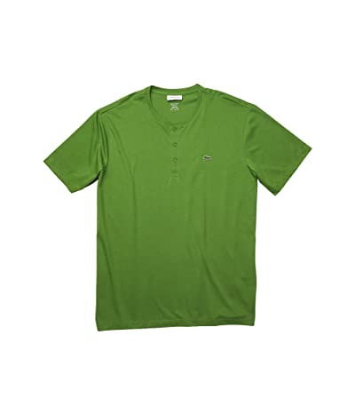 Lacoste Short Sleeve Regular Fit Pima Henley (Macintosh Green) Men
