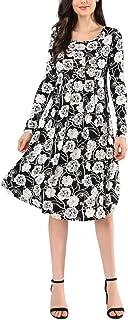 AVTOSRNO Women's Long Sleeve Loose Swing Wrinkle Flare Elastic Casual Midi Dress
