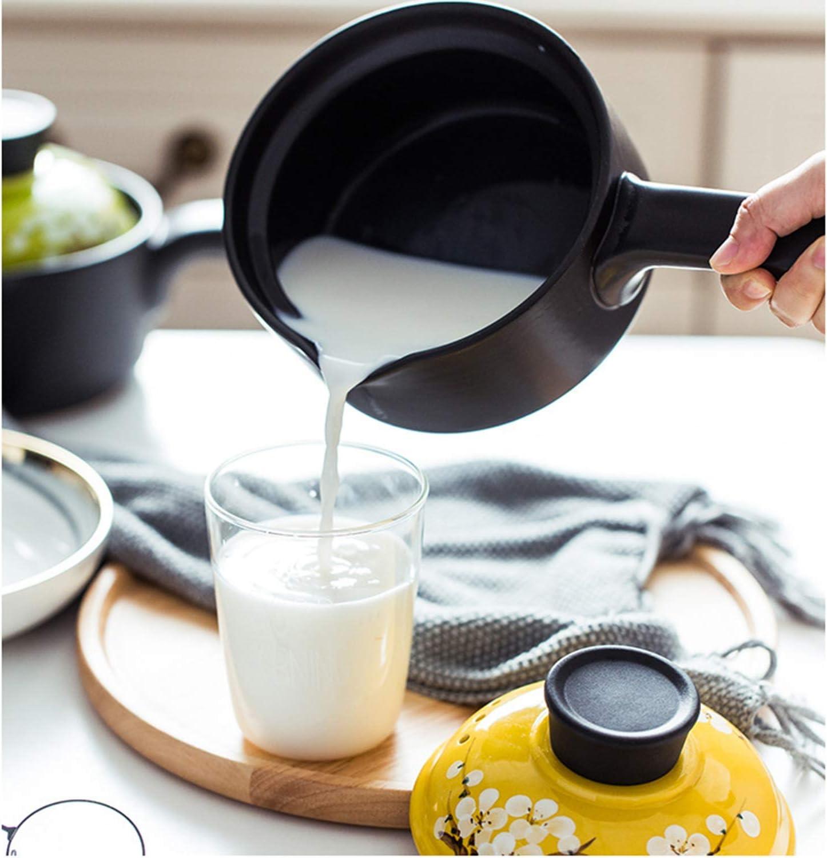 LEILEI Petite Casserole 1.2L,Pot de Lait en céramique pour bébé avec poignée,ragoût résistant aux Hautes températures Anti-brûlure avec Couvercle A