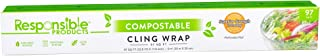 Responsible Products 100% Home Compostable Cling Wrap for Food, Non-Plastic Biodegradable Film, Reusable, Zero Waste, Non-...