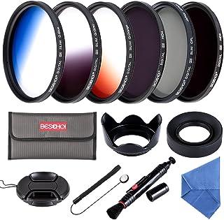 Beschoi - 52mm Lente Filtro Juego de Filtro Fotográfico (CPL ND4 ND8 + Ultra Delgado Graduado Color Naranja Azul Gris + Accesorios) de 13 Piezas para Canon Nikon Pentax DSLR Cámaras